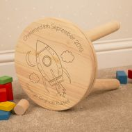 Space Rocket Engraved Kids Wooden Stool. Any Occasion