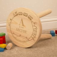 Personalised Engraved Boy Alphabet Wooden Stool.