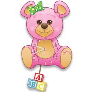 Pink Teddy Bear Clock for a Girl