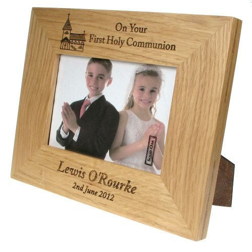 First Communion Solid Oak Frame Personalised Communion Frames For