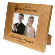 Solid Oak First Communion Frame: Eucharist Design