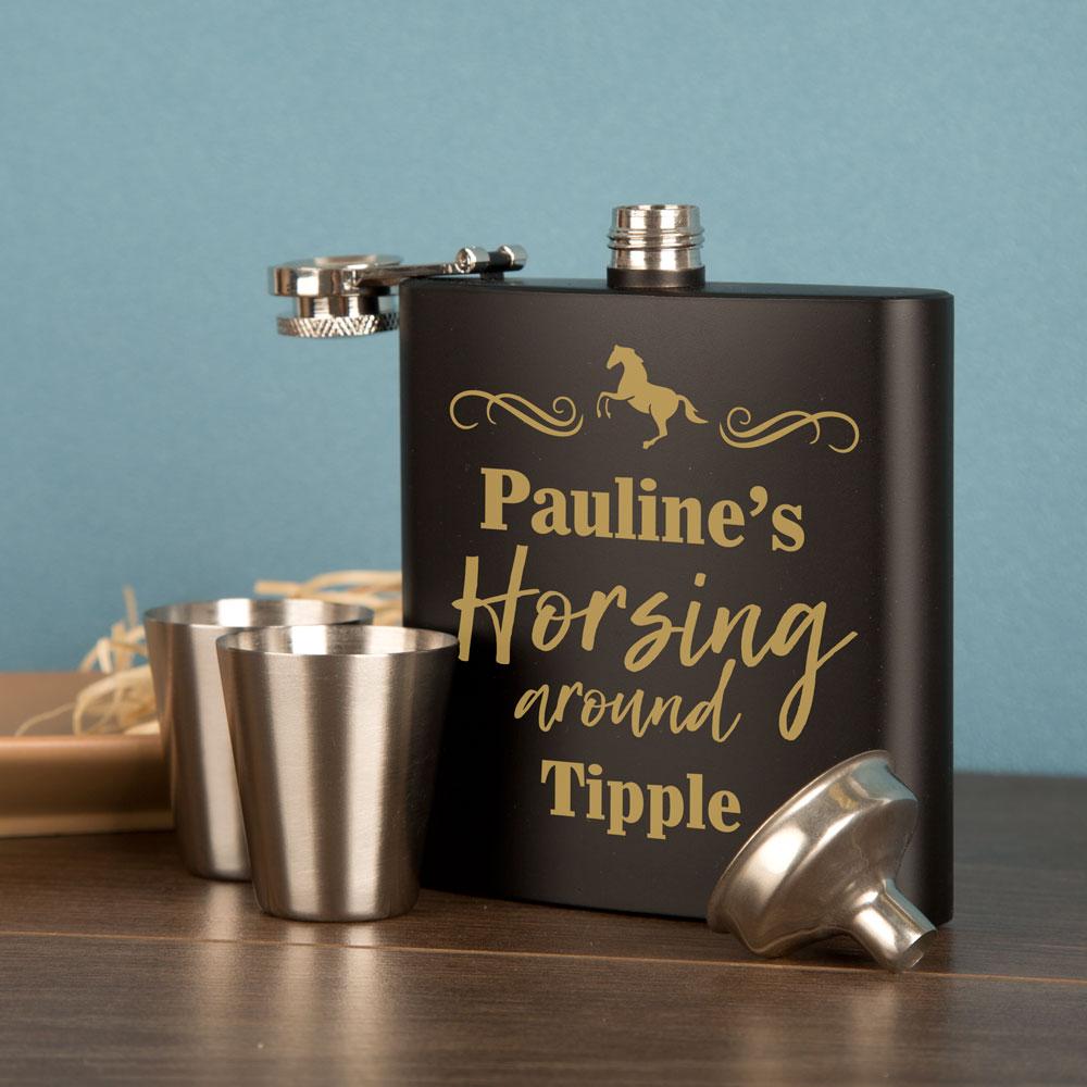 Laser Engraved Hip Flask For A Horse Loving Girl